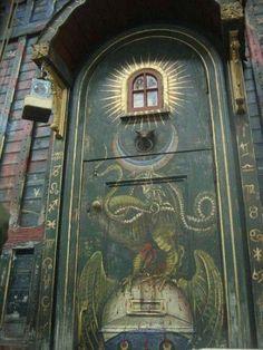 painted door of a gypsy vardo.