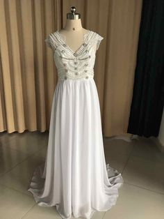 Sexy Backless Long Chiffon Crystal Wedding Dress Short Sleeves Beach Wedding Dress Lace Boho wedding Dress A367 * AliExpress Affiliate's buyable pin. Locate the offer on www.aliexpress.com simply by clicking the image