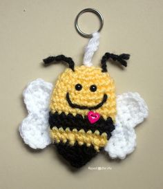 Repeat Crafter Me: Crochet Bumble Bee Keychain Appliqué's can be used so many…