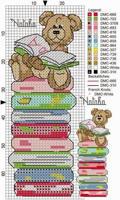 Bear and books cross stitch pattern Cross Stitch Books, Cross Stitch Bookmarks, Crochet Bookmarks, Cross Stitch Needles, Cross Stitch Baby, Cross Stitch Animals, Counted Cross Stitch Patterns, Cross Stitch Charts, Cross Stitch Designs