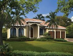 This charming one story classic Mediterranean style house features four bedrooms, three bathrooms plus a cabana.  House Plan # 611114.