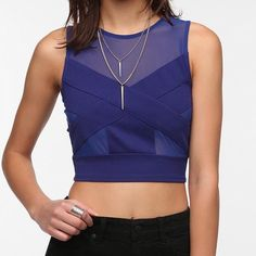 ❤️Sale❤️Spakle & Fade Blue Cropped Top Pretty cool cross cropped with features sheer mesh panel.  Finished with a scoop neck top. Urban Outfitters Tops Crop Tops