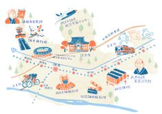 Poster by Japanese illustrator Masao Takahata Maps Design, Book Design, Graphic Design, Mental Map, Map Projects, Travel Maps, Cute Illustration, Brochure Design, Illustrations
