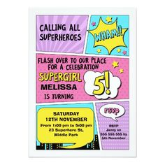 391 best 5th birthday party invitations images on pinterest girls superhero 5th birthday invitation filmwisefo
