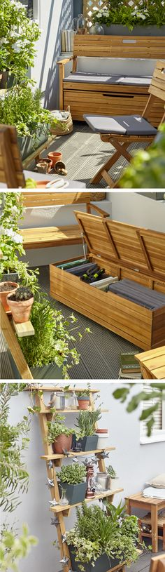 Your Basic Room Painting Supplies A small garden or balcony can still be ultra stylish! Invest in seating that doubles up as storage and stack your plants high with some vertical gardening. Backyard Seating, Garden Seating, Garden Table, Outdoor Seating, Extra Seating, Outdoor Loveseat, Outdoor Decor, Balcony Bench, Balcony Plants