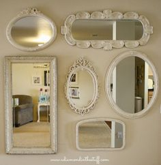 A Diamond in the Stuff-mirror-wall-gallery. different shapes & sizes Mirror Gallery Wall, Mirror Collage, My Mirror, Mirror Ideas, Wall Mirrors, Bedroom Mirrors, Vanity Mirrors, Framed Wall, Diy Shows