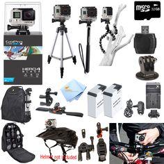 GoPro Hero4 Black Edition ATV Bike Helmet Mount PRO Accessory Bundle Brand New KitCamera