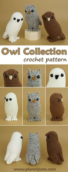 Owl Collection is a clever low-sew amigurumi design: the head, body, legs and wings are all crocheted as one piece, giving you an elegant bird silhouette with the perfect owl posture and an effortlessly smooth result!