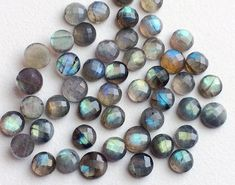 5 Pcs Labradorite Rose Cut Round Cabochons by gemsforjewels
