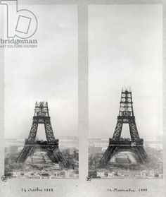 Two views of the construction of the Eiffel Tower, Paris, 14th October and 14th November 1888 (b/w photo), French School, (19th century) / Musee de la Ville de Paris, Musee Carnavalet, Paris, France / Bridgeman Images