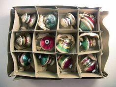 Vintage Set 12 Shiny Brite Lantern Top Stripe Glass Christmas Ornaments by EclectiquesBoutique