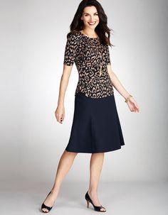 Navy Flippy Skirt | leppard blouse Cleo