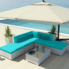 Amazon.com: Uduka Outdoor Sectional Patio Furniture White Wicker Sofa Set Porto 6 Turquoise All Weather Couch: Patio, Lawn & Garden