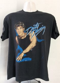 Vtg 80s Dirty Dancing Patrick Swayze T-Shirt Black M/L Movie Underarm Stains, Tiffany T, Patrick Swayze, Champion Sweatshirt, Dirty Dancing, Amy Winehouse, Vintage Tees, Movie, Actors
