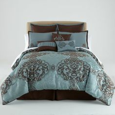 Blue And Brown Bedroom Set elegant, luxurious blue and brown bedding. looks like a luxury