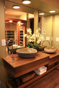 Natural stone sinks. Natural look. The two levels are cool! TG