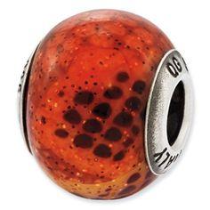 Reflection Beads Sterling Silver Italian Murano Pink & Orange Python Glass Bead