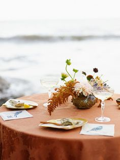La Tavola Fine Linen Rental: Kendra Rust   Photographer: Meg Smith Photography, Location: Muir Beach in West Marin, CA, Event Producer: Gillian of Gillian Shenon Event Production, Floral Designer: Erica of Erica Rose Design