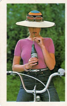 Retro Ads, Retro Vintage, Vintage Posters, Retro Posters, Girl Posters, Bicycle Girl, Cute Swimsuits, Illustrations And Posters, 80s Fashion