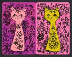 Vintage Swap/Playing Cards - Retro Cats Pair | eBay