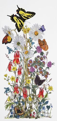 Butterflies Painting - Wildflowers And Butterflies Of The Valley by Stanza Widen