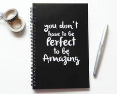 Writing journal, spiral notebook, bullet journal, black white, sketchbook, blank…