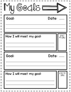 Student Goal Setting Template This goal setting sheet is perfect for younger students to set goals. We usually do one academic and one personal goal at a time! Goal Setting Sheet, Goal Setting Template, Goal Setting For Students, Goals Template, Setting Goals, Future Classroom, School Classroom, Behavior Management, Classroom Management