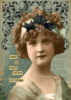 Original digital collage ephemera Christmas altered art vintage photo collage sheets print supplies whimsy dreams steam punk inspirational. $5.00, via Etsy.