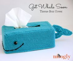 Get Whale Soon Tissue Box Cover - so punny! Free #crochet pattern on Mooglyblog.com