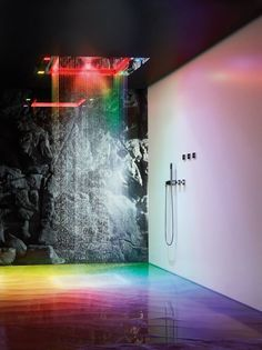 Stainless steel overhead shower with aromatherapy and chromotherapy SENSORY SKY by Dornbracht | #design Sieger Design
