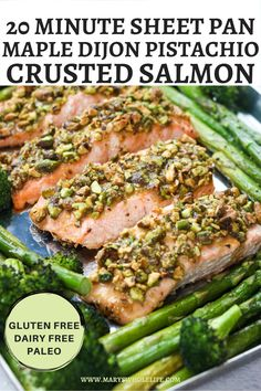 This Maple Dijon Pistachio Crusted Salmon with Spring Veggies is a delicious and easy sheet pan meal! It comes together in in just 20 minutes using minimal fresh ingredients. This meal is gluten free, dairy free, and paleo! #sheetpandinner #lent #seafood #salmon #salmonrecipes #paleo #paleorecipes #glutenfree #dairyfree #glutenfreerecipes #seafoodrecipes #20minutemeal #sheetpan #springrecipes Salmon Recipes, Meat Recipes, Seafood Recipes, Paleo Dinner, Health Dinner, Dinner Recipes, Seafood Dinner, Fresh Seafood, Pistachio Crusted Salmon