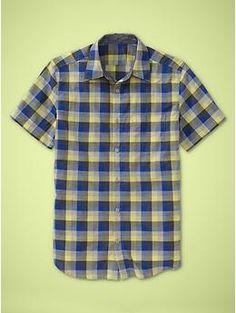 blue & yellow plaid men's short sleeve shirt