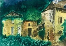 John Piper Les Junies (village in Southern France), etching and aquatint (edition of 402 x 560 mm. Maggi Hambling, Jeremy Deller, Coventry Cathedral, Peter Blake, John Piper, Tag Image, List Of Artists, Painting Inspiration, Printmaking
