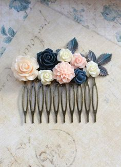 Flower Hair Comb Navy Blue Rose Floral Collage