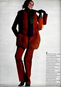 Christian Dior A/H Photo Roland Bianchini. 1969 Fashion, Vintage Fashion, Christian Dior Vintage, Fashion Colours, 1960s, Fur Coat, Glamour, People, Jackets