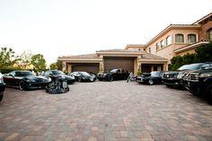 Garage. Porsche, Bugatti, Rolls Royce, Dodge, Cadillac.