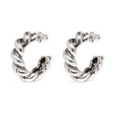Philippe Audibert 'Torsade' hoop earrings ($55) ❤ liked on Polyvore featuring jewelry, earrings, metallic, hoop earrings, philippe audibert, silver tone earrings, polish jewelry and metallic jewelry