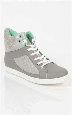 Deb Shops high top #sneaker with quilted detail and #neon inside with studs $35.90