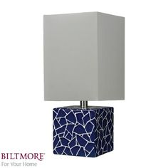 Love the cube base! Traditional Table Lamps, Cosmos, Navy And White, Floor Lamp, Sconces, Chandelier, Lighting, Larger, Cube