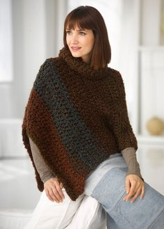 This cape in Lion Brand's Homespun Thick and Quick will work up in a jiffy! Ponchos are definitely making a come back for a chic look this fall.   (LOVE!)