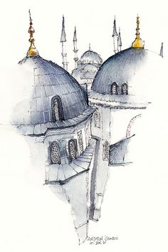 Ayasofia, istanbul, turkey by Sunga ParkFamous places in Aquarelle painting is a project by Korean artist and illustrator Sunga Park. Sunga currently lives and works in Busan, Rep of South Korea.Watercolor Illustrations of Architecture of the WorldThailan Architecture Drawing Art, Watercolor Architecture, Chinese Architecture, Islamic Architecture, Beautiful Architecture, Drawing Sketches, Art Drawings, Drawing Ideas, Sketch 2