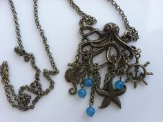 The Great Sea Monster Large Octopus and Nautical Charm Necklace by CeruleanLife, $18.00