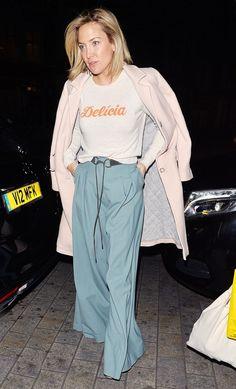 Draped Jacket + Graphic Top + Wide-Leg Pants: