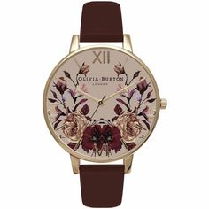 Olivia Burton Watch - Winter Garden - Mirror Floral Burgundy & Gold (twistedtime.com)
