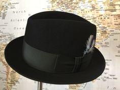Sweet Vintage Men's Fedora hat 1960's Black Cavanagh center dent.