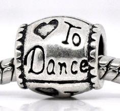 """ Love to Dance "" Antique'd Silver Charm Barrel Bead Pandora Troll Chamilia Compatible"