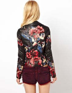 River island Floral Hand Painted Leather Jacket in Black | Lyst