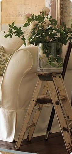 country decor... slipcover and neutral vignette