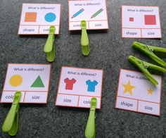 """What is different"" visual thinking skills clip cards - a great independent activity for students with autism."