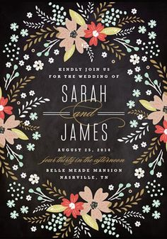Pretty Floral Wedding Invitations - love the black background